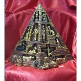 PIRAMIDE EXPOSITORA CON COLECCION DE FIGURAS DE DIOSES EGIPCIOS